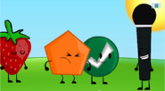 Strawberry, Orange Pentagon, Green Ball and Microphone
