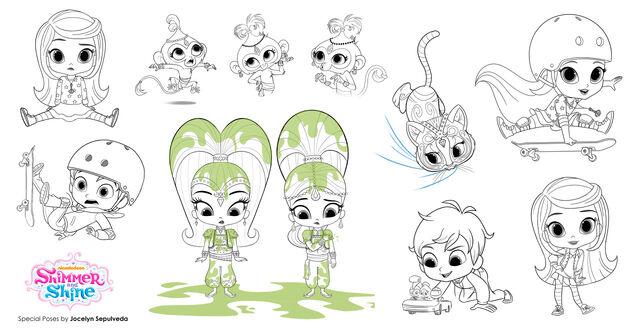 File:Shimmer, Shine, Leah, Zac, Nahal and Tala Production Art.jpg