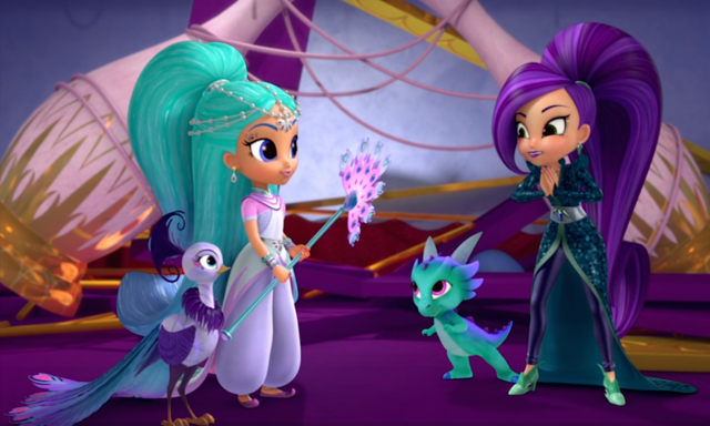 File:Shimmer and Shine Characters with Roya the Peacock 1.png