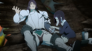 Rita bandaging Kaisar's arm