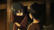 Mikasa receives the red scarf