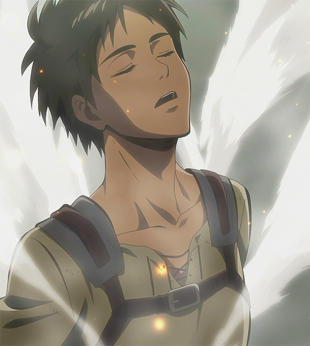 Eren back to his human form.png