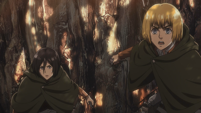 File:Armin and Mikasa watch as Ymir eats Christa.png