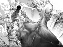 Eren attacks the Colossus Titan