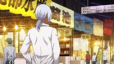 Akira visits the fish market (anime)