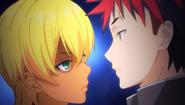 Ikumi threatens Soma (anime)