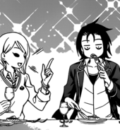 Alice and Ryo enjoying dinner
