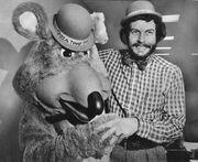 Nolan Bushnell with Chuck E. Cheese
