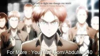 (Lyrics) - Attack On Titan - Theme Song - Crimson Bow and Arrow - Guren Ni Yumiya - (HD)