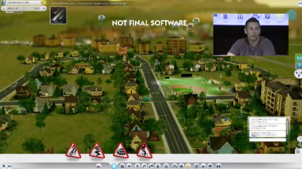 File:SimCity gameplay (note Disaster icons on the bottom screen).jpg