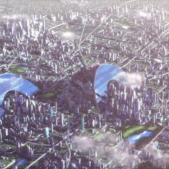 An aerial shot of downtown Sora
