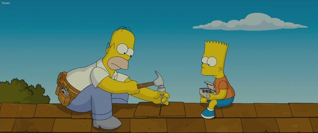 File:Homer and Bart fixing the roof.jpg
