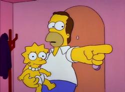 Homer holding baby Lisa