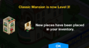 Classic Mansion Level 3 Upgrade Screen