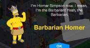Barbarian Homer Unlock Screen