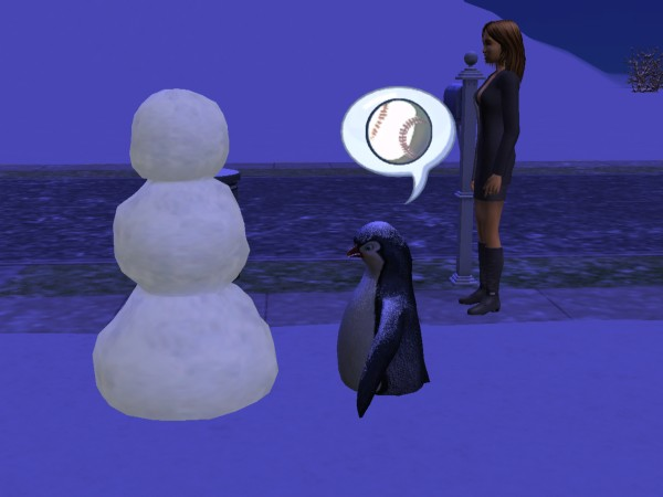 File:Penguin talking to snowman.jpg