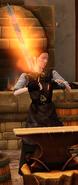 Fiery embossed longsword sharpened by blacksmith