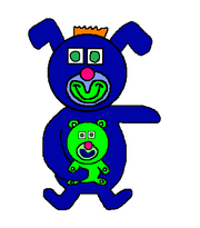 Electric blue with green teddy bear sing a ma jig duet