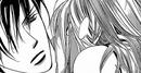 Setsuka leaving a kiss on cains neck