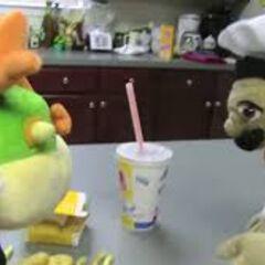 Bowser Junior and Chef Pee Pee with a happy meal