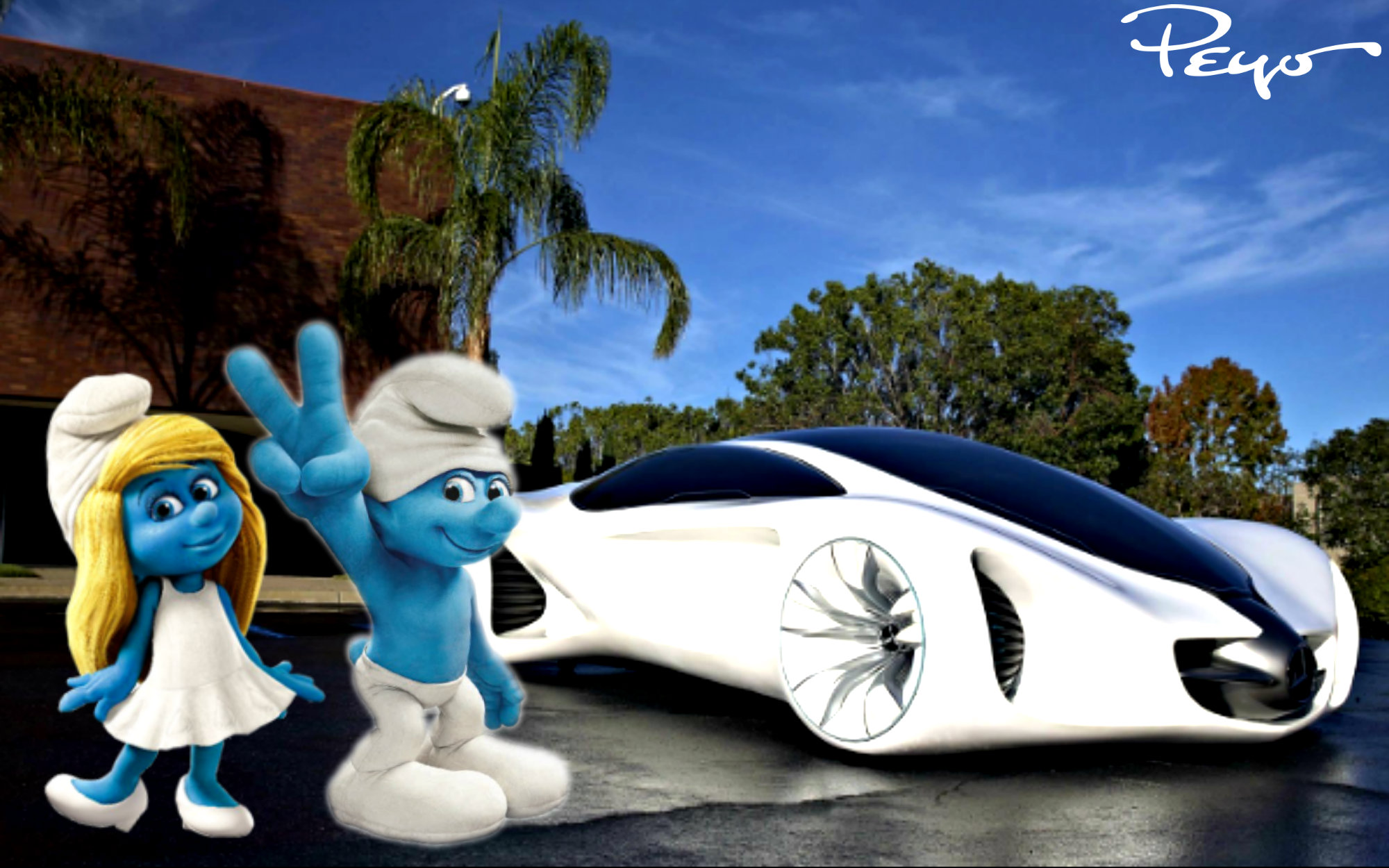 Image  Smurfette and Clumsy presents the new Future Flying Cars