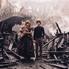 Violet Klaus and Sunny at their burned home