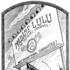 Primary Image: Count Olaf's car passes by Madame Lulu's Billboard.