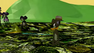 Dashing Moustache Tails walks across the swamp.