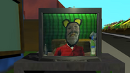 Mr Mousington appearing on the TV in Mouse Tails' garden