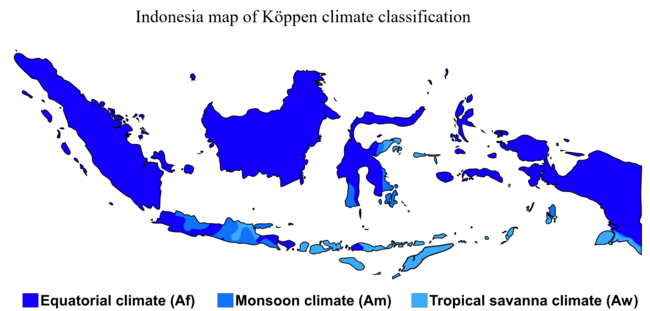 Indonesia map of climate classification