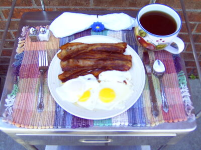 Bacon and eggs cooked on the Solar Fryer
