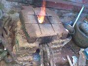 Wood burning stove at work