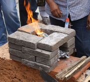 16-brick rocket stove Mexico 2012