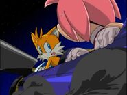 Tails and Amy plane on fire