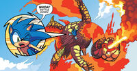 Ifrit battles Sonic
