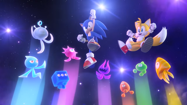 File:Sonic, Tails and Wisps (Sonic Colors Opening Wii).png
