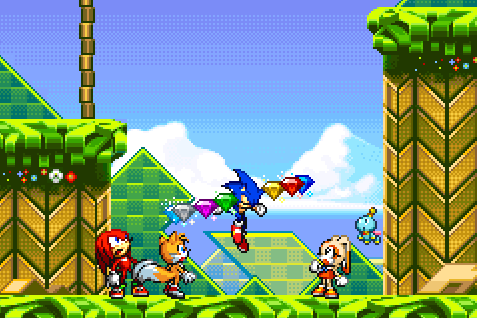 File:Sonic with all Chaos Emeralds (Sonic Advance 2).png