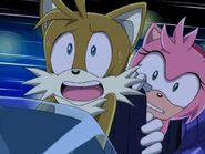 Tails and amy about to crash sonic X episode 1