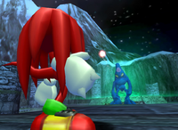 Knuckles facing Chaos