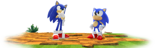 File:Classic and Modern Sonics in Green Hill.png