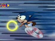 Sonic running fast