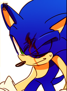 Sonic's head is bleeding