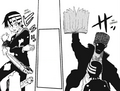 Soul Eater Chapter 56 - Kid tosses Liz and Patty away from Noah