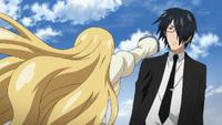 Akane dodges Anya's attack