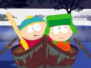 Cartman trying to kill kyle in toilet paper with a whiffle bat