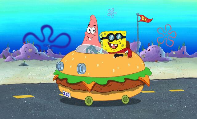 File:Patrick & Spongebob In The Patty Wagon.jpg