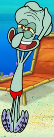 Squidward in red swimsuit