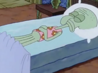 Squidward asleep, wearing floral PJs
