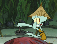 Squidward Wearing a Kelp Hat