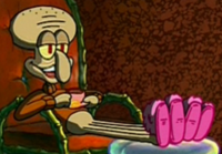 Squidward Wearing a Sweater and Slippers